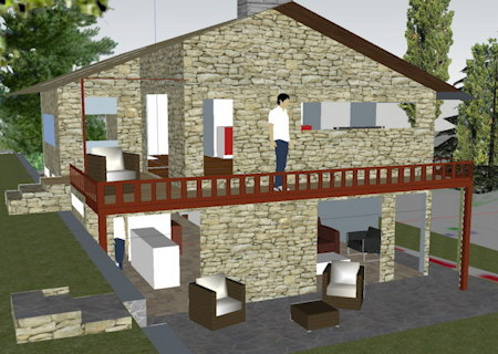 Plans de maison en pierre en 2 et 3d for Construction maison en 3d